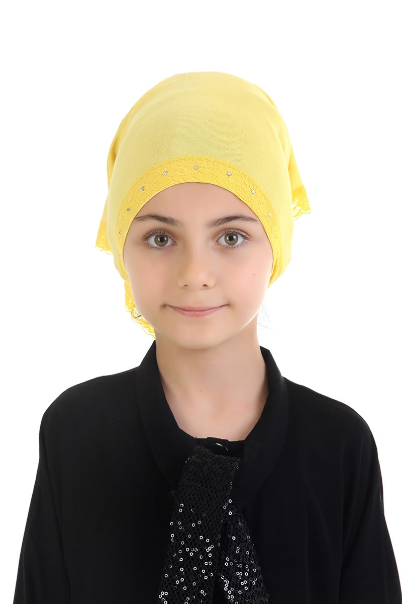 Çocuk Bone Başörtü Sarı