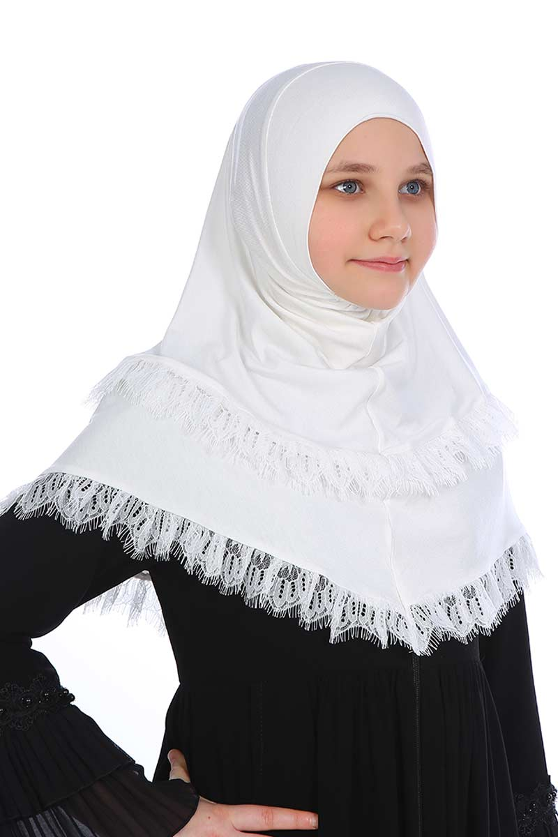 Çocuk Pratik Eşarp Aleyna Model Beyaz