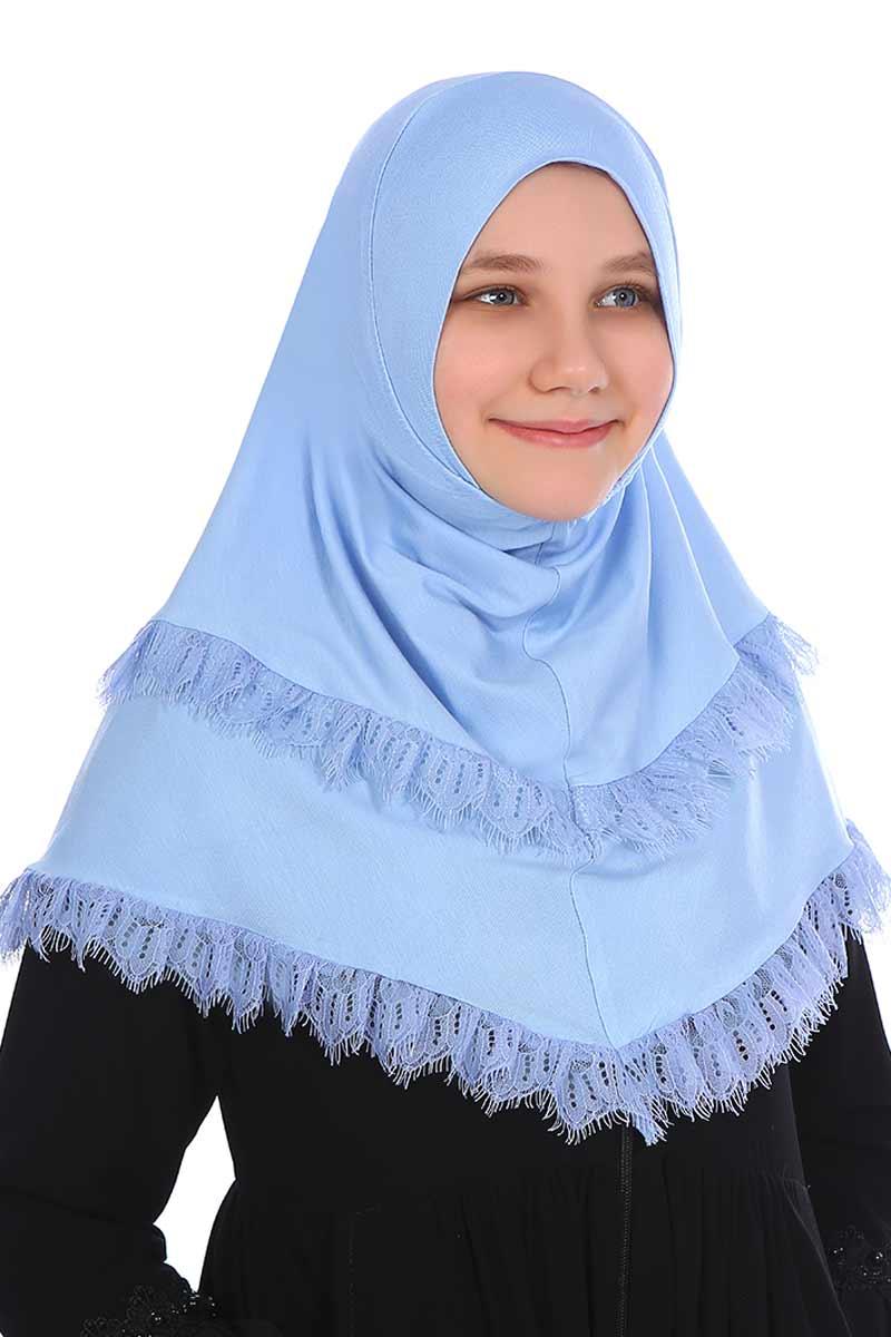 Çocuk Pratik Eşarp Aleyna Model Mavi
