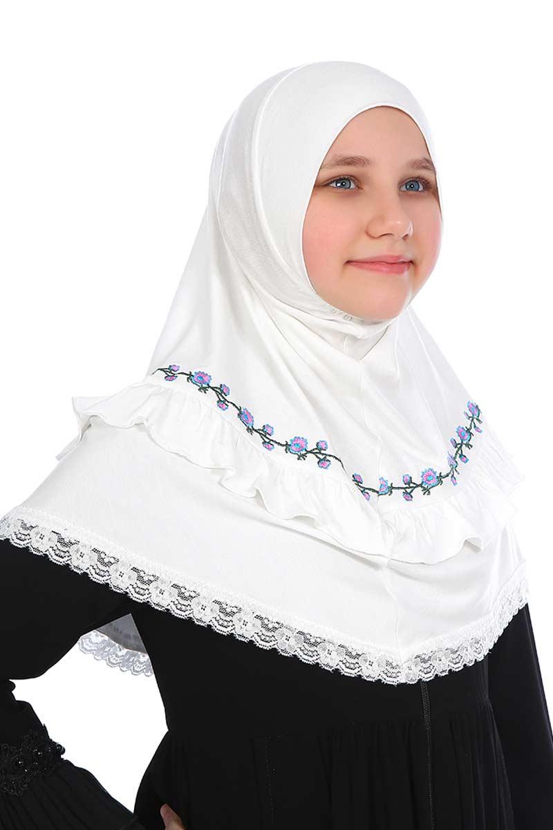 Çocuk Pratik Eşarp Nakışlı Model Beyaz