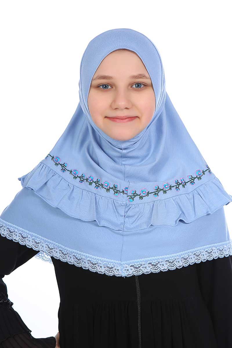 Çocuk Pratik Eşarp Nakışlı Model Mavi