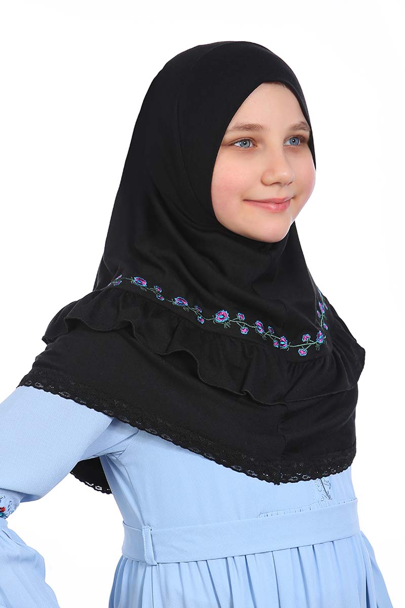 Çocuk Pratik Eşarp Nakışlı Model Siyah