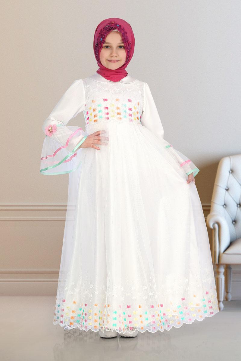 İcazet Merasimi Abiye Gökkuşağı Model Beyaz