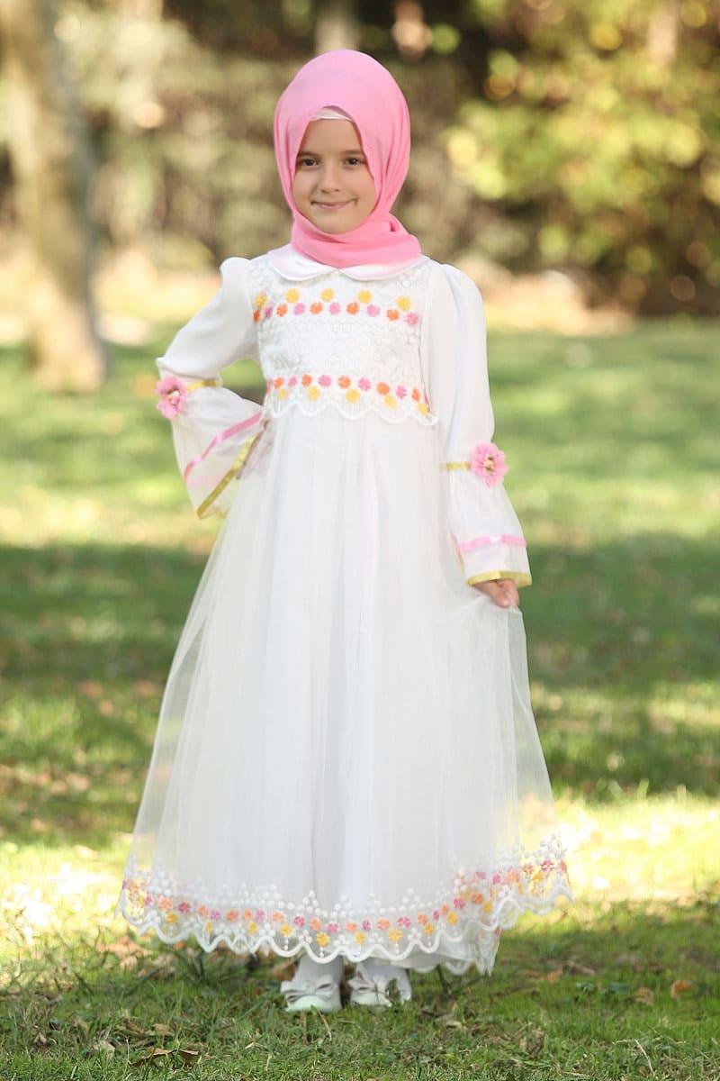 Çocuk Tesettür Abiye Buse Model Beyaz