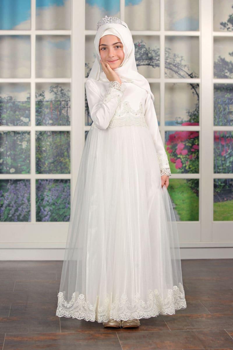 Çocuk Tesettür Abiye Güpürlü Model Beyaz