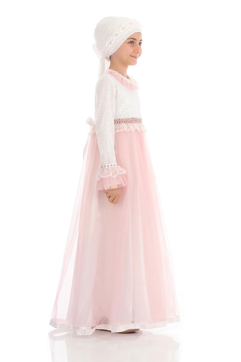 Çocuk Tesettür Abiye Payetli Model Pudra
