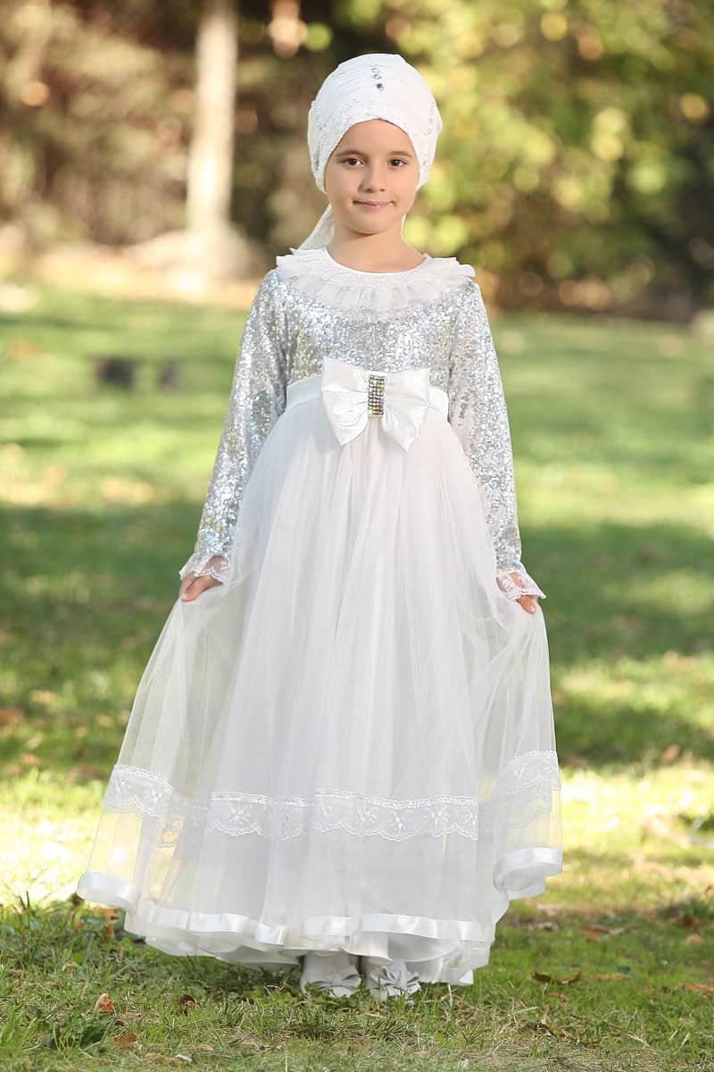 Çocuk Tesettür Abiye Payetli Model Gümüş