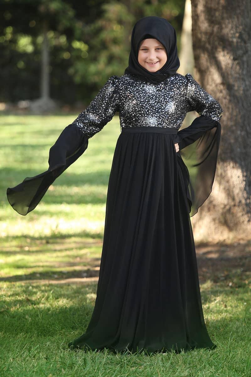 İcazet Merasimi Abiye Siyah Buket Model Gümüş Pullu