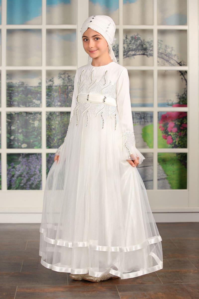 İcazet Merasimi Abiye Taşlı Model Beyaz