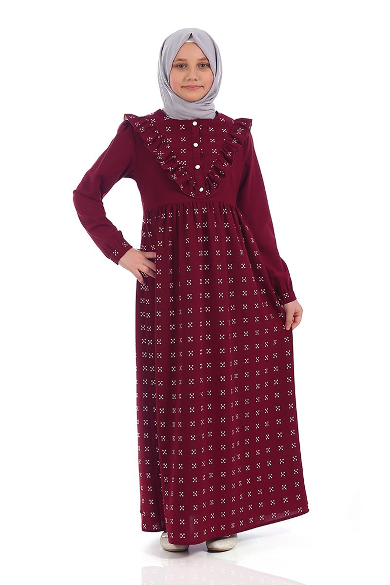 Çocuk Tesettür Elbise Ahsen Model Bordo