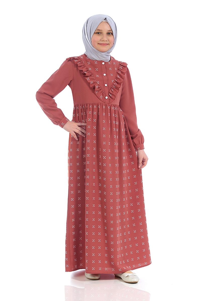 Çocuk Tesettür Elbise Ahsen Model Kiremit