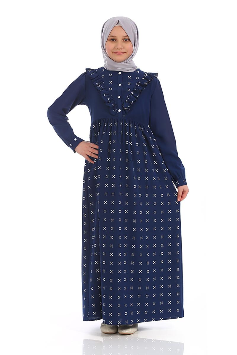 Çocuk Tesettür Elbise Ahsen Model Lacivert