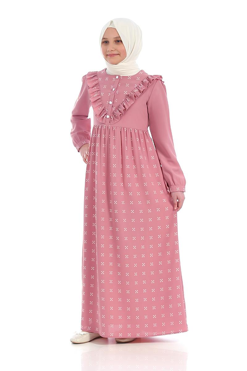 Çocuk Tesettür Elbise Ahsen Model Pudra