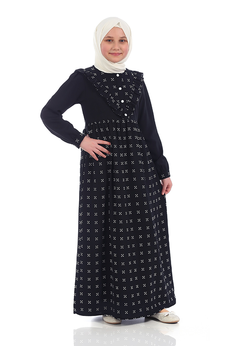Çocuk Tesettür Elbise Ahsen Model Siyah