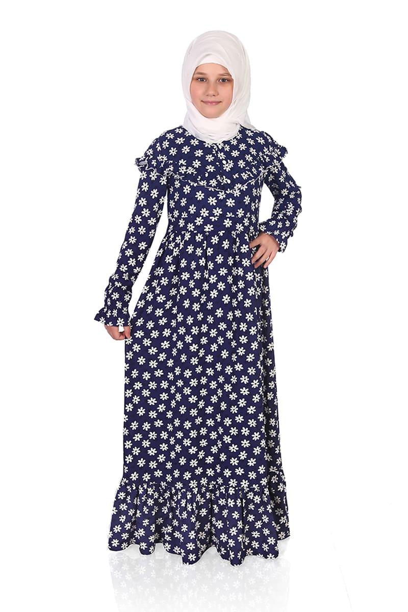Çocuk Tesettür Elbise Buse Model Lacivert