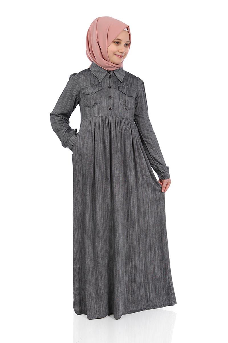 Çocuk Tesettür Elbise Çağla Model Füme