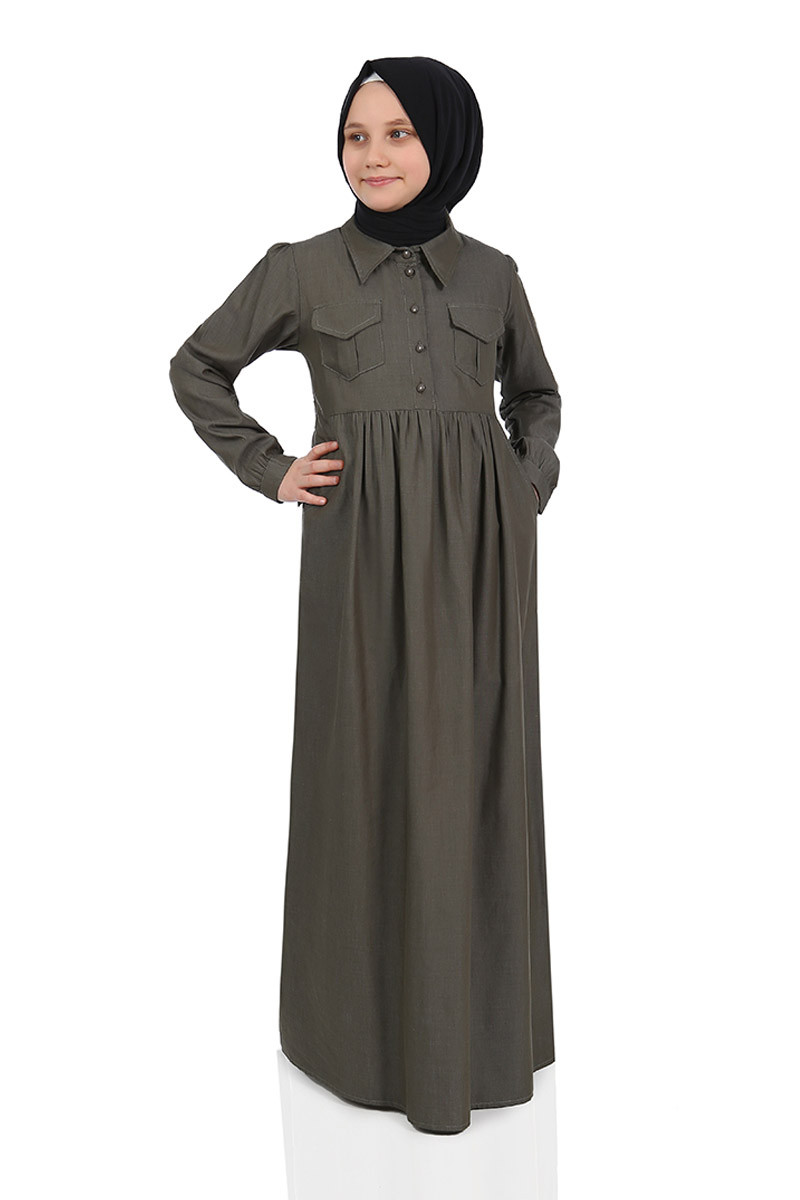 Çocuk Tesettür Elbise Çağla Model Haki
