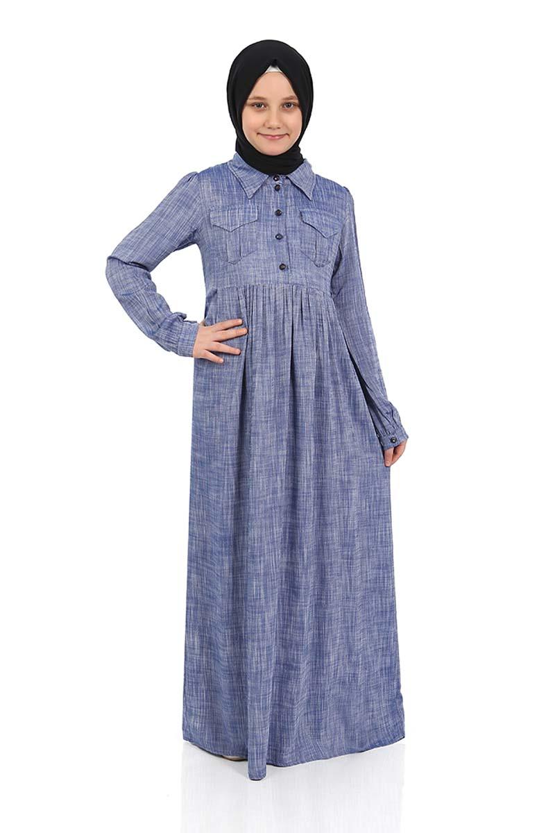 Çocuk Tesettür Elbise Çağla Model Lacivert