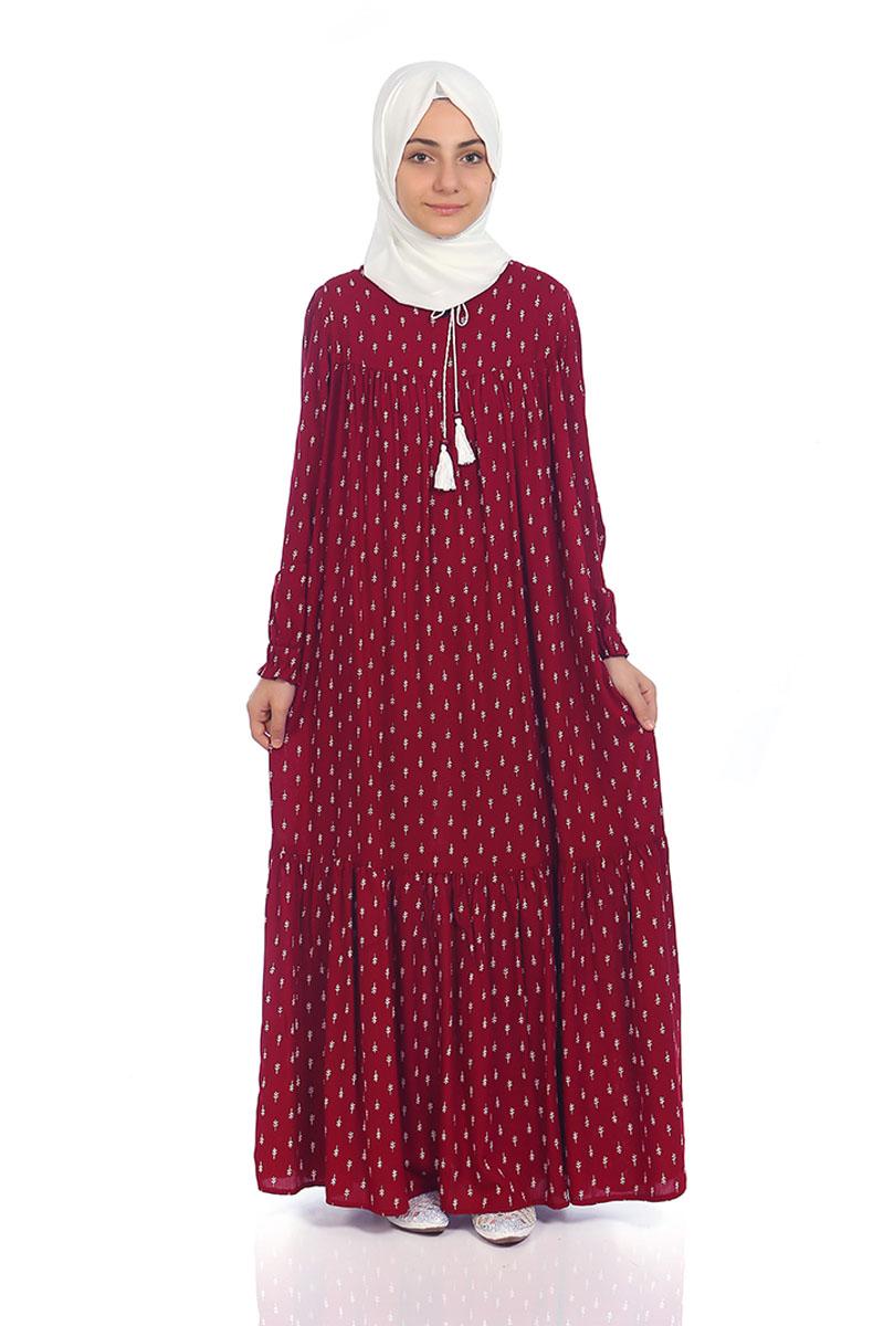 Çocuk Tesettür Elbise Çam Model Bordo