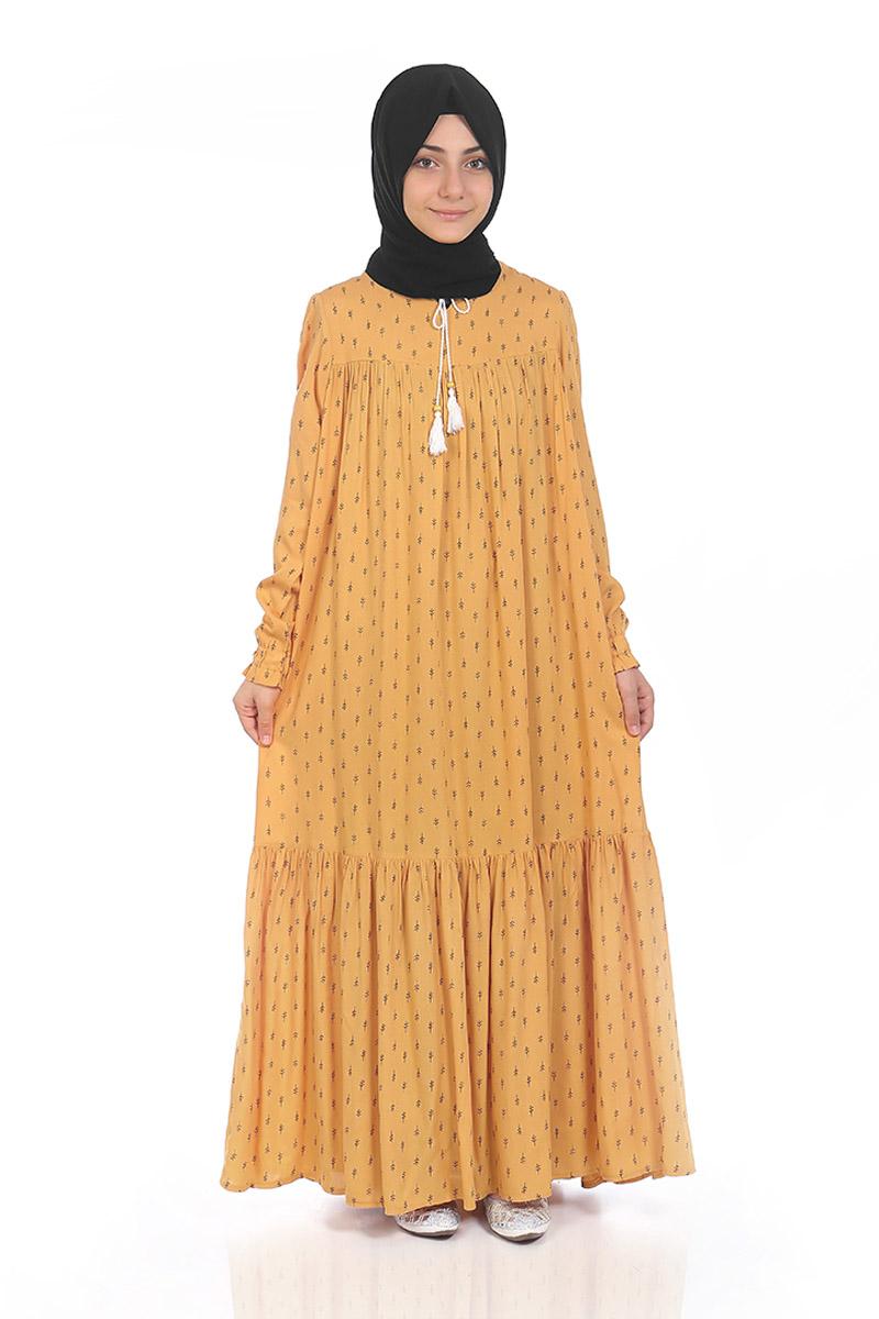 Çocuk Tesettür Elbise Çam Model Sarı