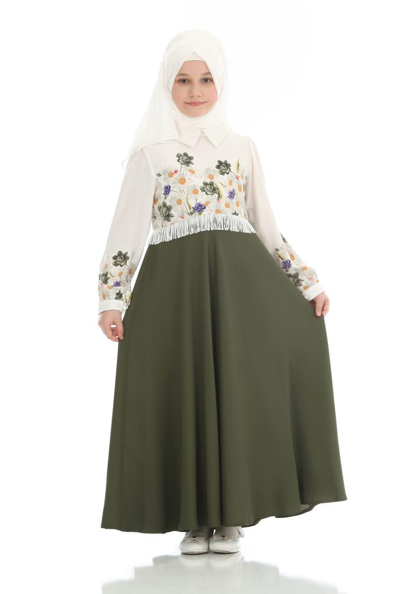 Çocuk Tesettür Elbise Cennet Model Asker Yeşili