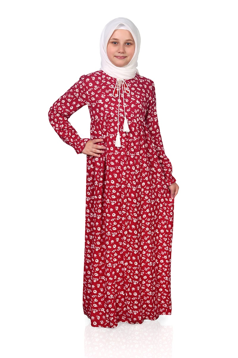 Çocuk Tesettür Elbise Çiçek Model Kırmızı