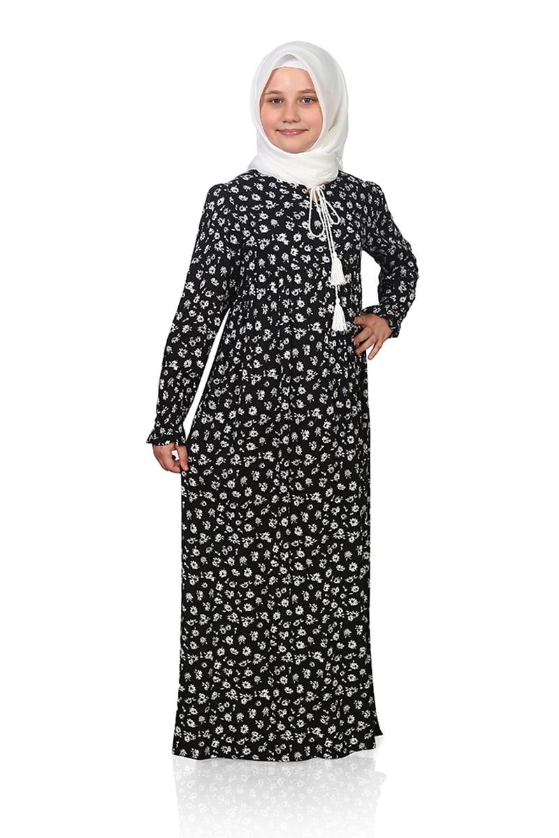 Çocuk Tesettür Elbise Çiçek Model Siyah