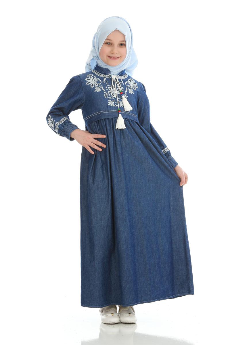 Çocuk Tesettür Elbise Asel Model Lacivert