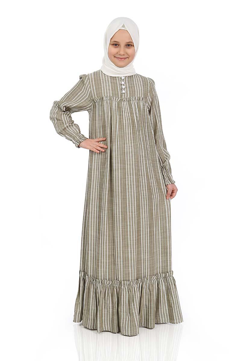 Çocuk Tesettür Elbise Defne Model Haki
