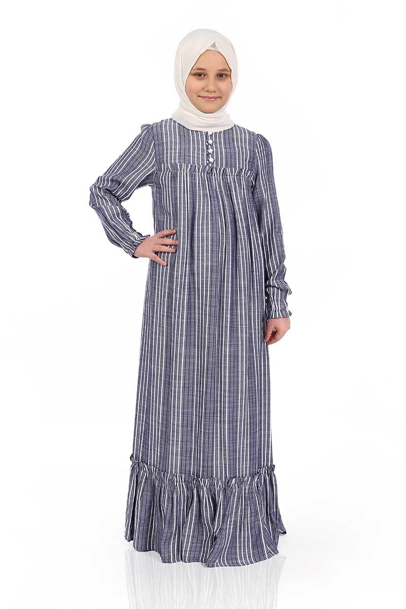 Çocuk Tesettür Elbise Defne Model Lacivert