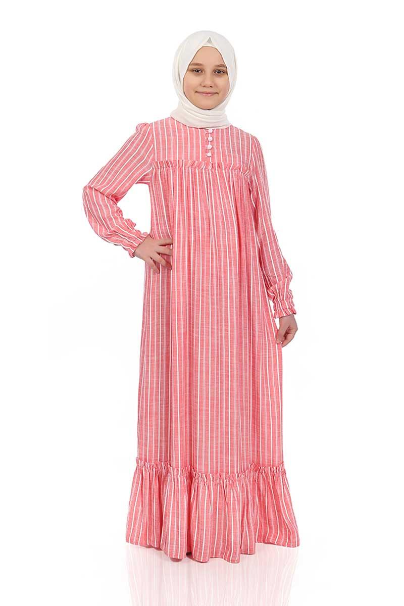 Çocuk Tesettür Elbise Defne Model Narçiçek