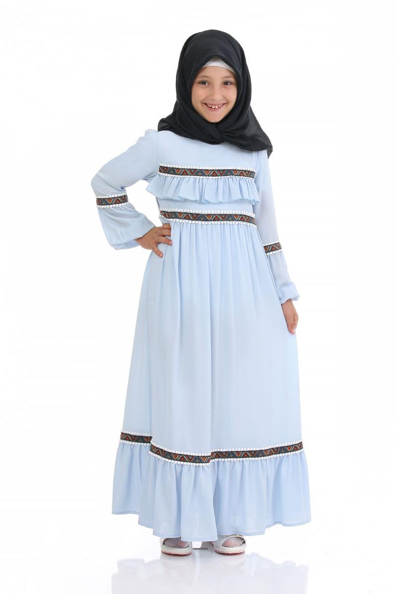 Cocuk Tesettur Elbise Prenses Model Buz Mavisi Elbise Modelleri Modelleri Ve Fiyatlari