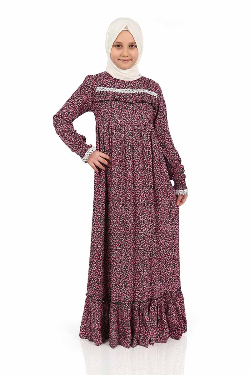 Çocuk Tesettür Elbise Ebru Model Pembe
