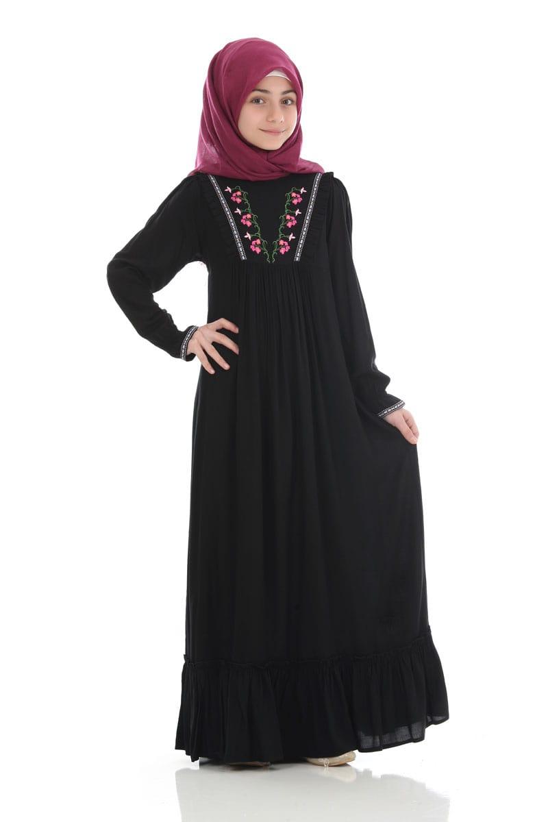 Çocuk Tesettür Elbise Ecrin Model Siyah