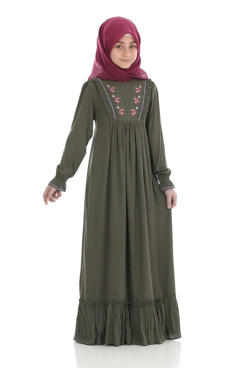 Çocuk Tesettür Elbise Ecrin Model Asker Yeşili