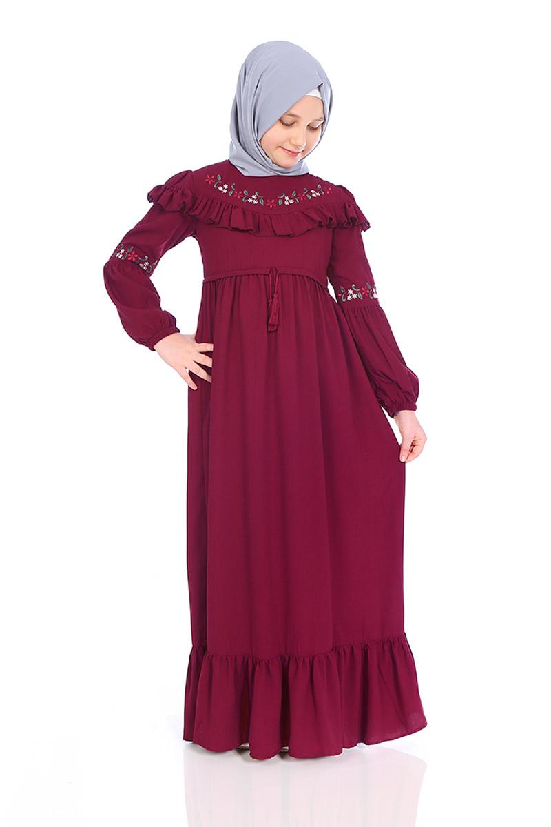 Çocuk Tesettür Elbise Filiz Model Bordo