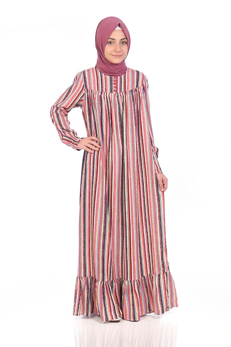 Çocuk Tesettür Elbise Gökkuşağı Model Pembe
