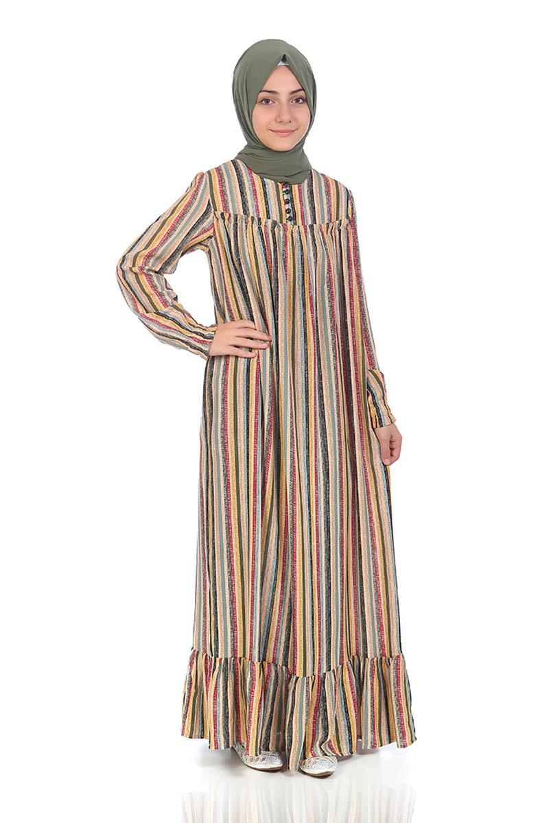 Çocuk Tesettür Elbise Gökkuşağı Model Sarı