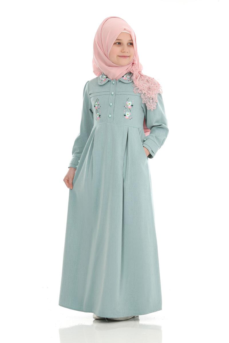 Çocuk Tesettür Elbise Hira Model Su Yeşili