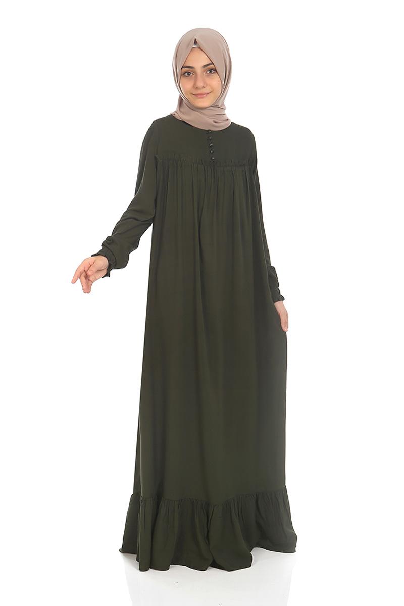 Çocuk Tesettür Elbise Nergis Model Haki