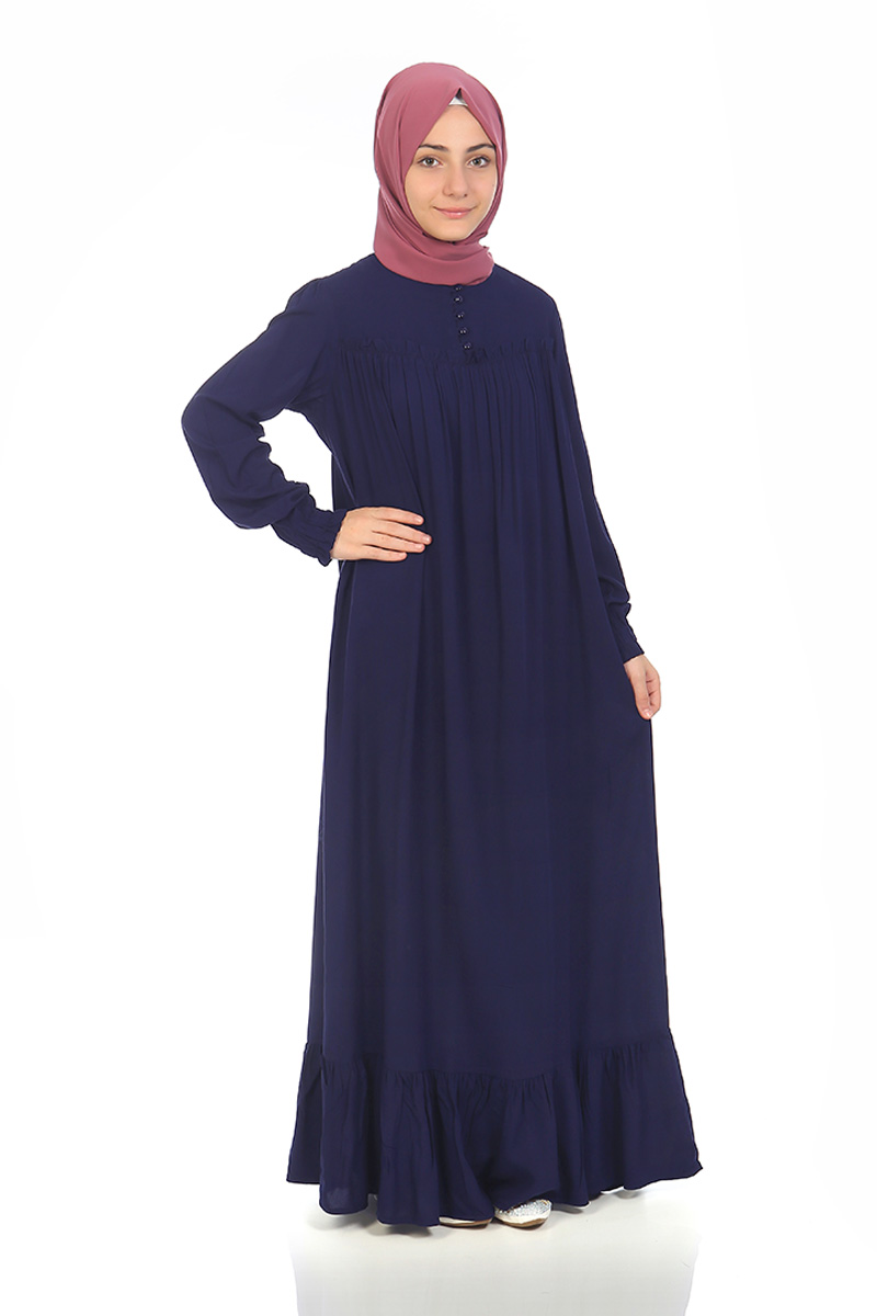 Çocuk Tesettür Elbise Nergis Model Lacivert