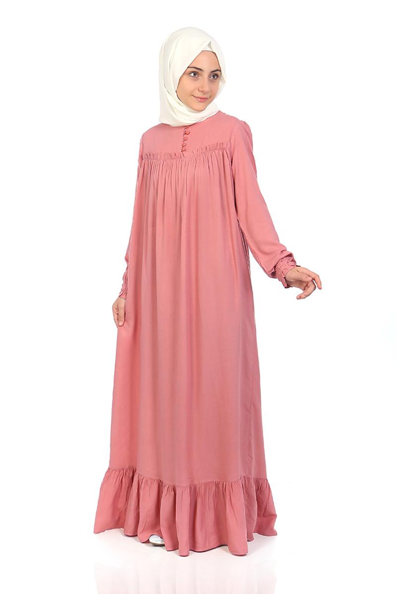 Çocuk Tesettür Elbise Nergis Model Pudra