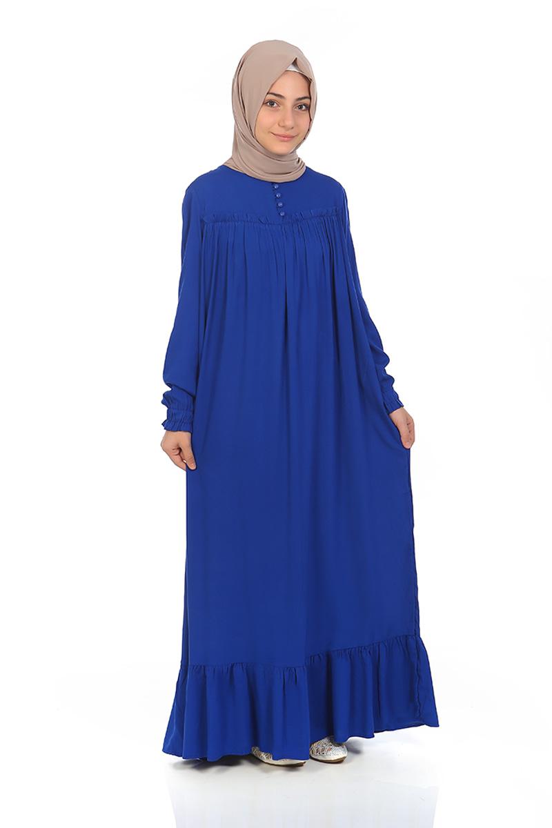 Çocuk Tesettür Elbise Nergis Model Saks Mavi