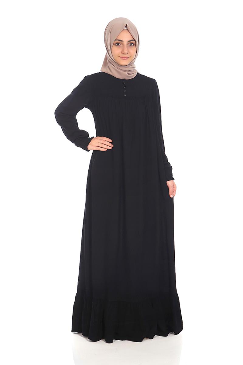 Çocuk Tesettür Elbise Nergis Model Siyah