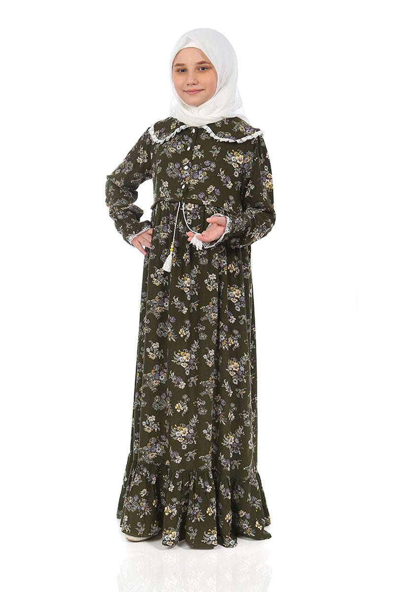 Çocuk Tesettür Elbise Rana Model Haki