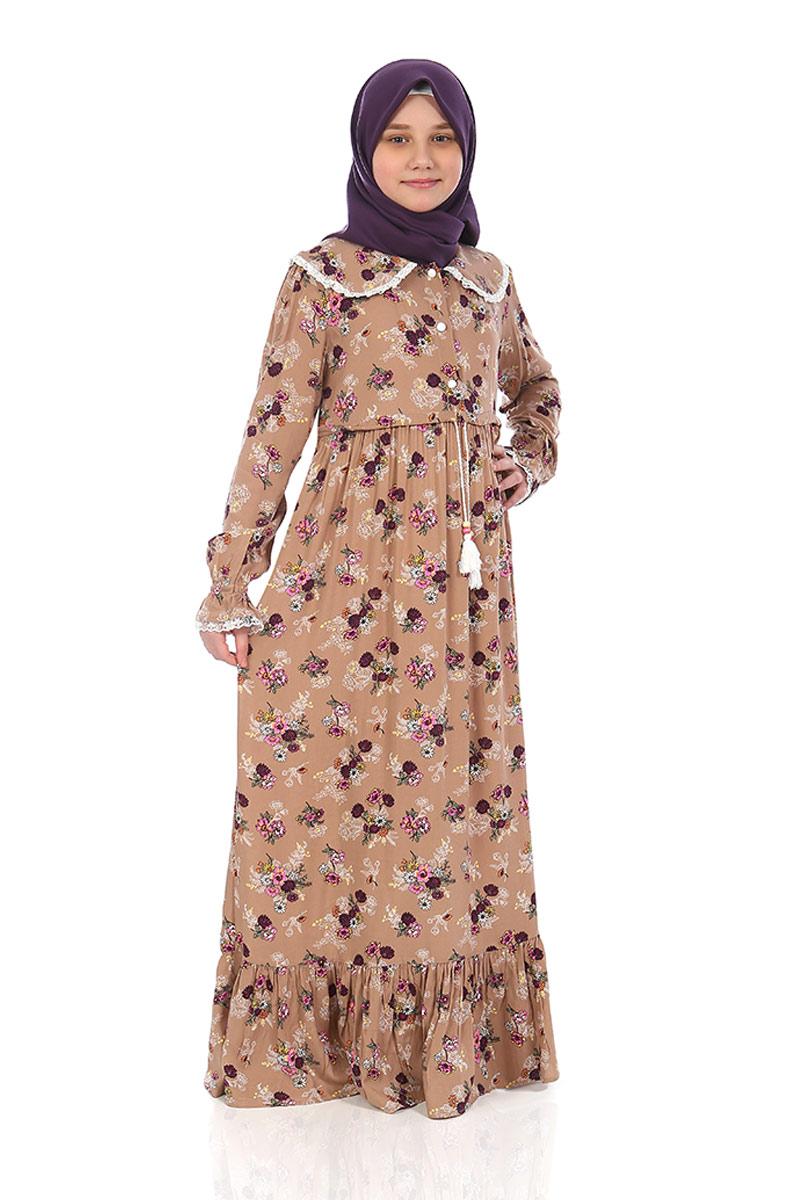 Çocuk Tesettür Elbise Rana Model Kahve