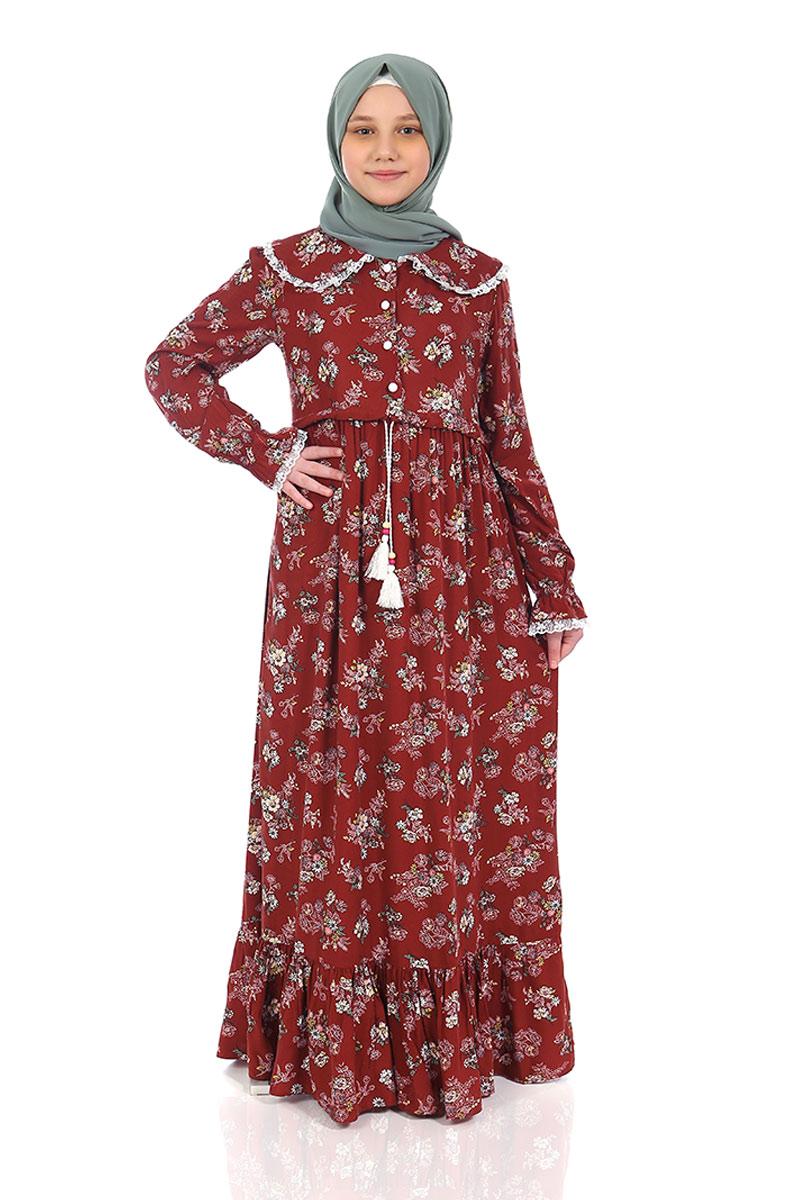 Çocuk Tesettür Elbise Rana Model Kiremit