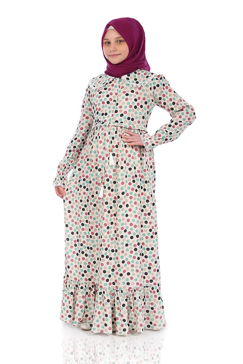 Çocuk Tesettür Elbise Rana Model Krem