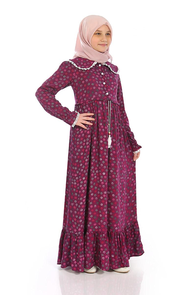 Çocuk Tesettür Elbise Rana Model Narçiçek