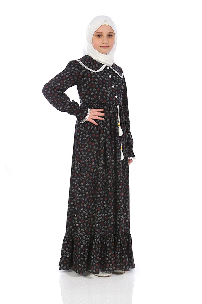 Çocuk Tesettür Elbise Rana Model Siyah